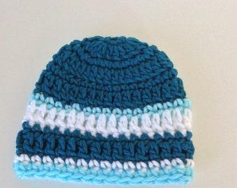 Premie baby boy hat, crochet baby hat, baby boy hat, blue hat