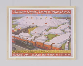 "Instant Downloadable Vintage Circus Poster ""The Barnum & Bailey Greatest Show on Earth"" from 1899"