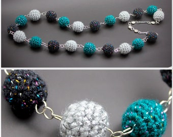 Teal & Grey Handmade Crochet Beads Necklace