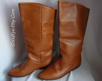 Vintage Nine West Leather SLOUCH Boots  / size 5 .5 m Eur 35 .5 Uk 3 / Pixie Knee Cuff Flat Heel / made in BRAZIL