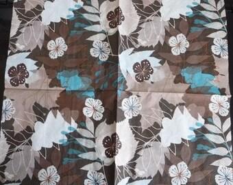 Napkin Brown amid stylized flowers