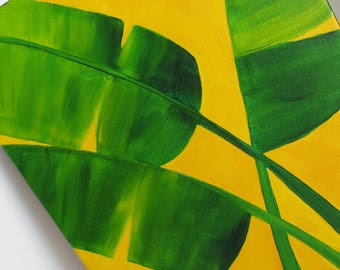Original Painting 11 x 14 Tropical Banana Leaves Bright Yellow Acrylic Painting Cottage Decor