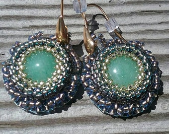 Green Aventurine Hand Ebroidered Earrings