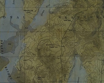 """Uncharted """"Point Reyes"""" monoprint, etching with chine colle, map imagery"""
