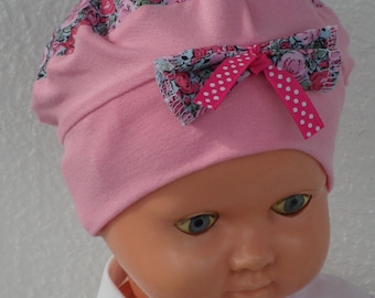 Hat beret Hat turban, baby gift for newborn, cotton Jersey, pink and blue printed flowers, soft and stretchy