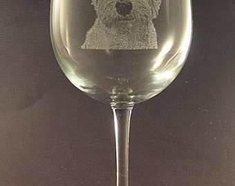 Etched West Highland Terrier / Westie on Elegant White Wine Glass (set of 2)