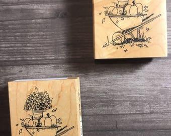 Fall Themed Wheelbarrow Small Wooden Block Stamp