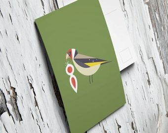 postkaart met Kerstmis Distelvink