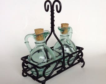 Oil and vinegar cruet set, oil and vinegar dispenser, oil and vinegar set with stand, table ware, condiment set, dressing bottles