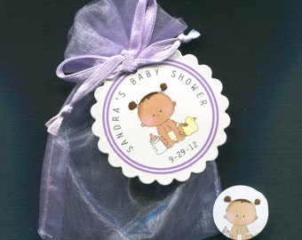 Personalized Baby Girl Baby Shower Favor Candy Bags With Baby Girl With Dark Skin Includes Tags, Candy Stickers, Purple Organza Bags