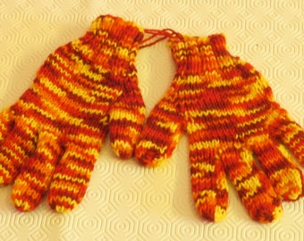 Sunset Fire Hand Knitted Gloves