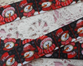 Black Ribbon with snowmen with red snow fabric grosgrain non-elastic polyester of 1.30 cm in width.