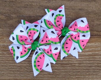 Set of 2 Pigtail Bows~Watermelon Boutique Bows~Small Pigtail Hair Bows~Watermelon Hair Bow~ Hair Bows~Baby Hair Bow~Toddler Hair Accessories