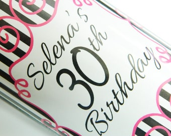 Set of 20 - PERSONALIZED WINE LABEL - Girly Stripes- For Weddings, Anniversaries, Birthday Or Any Special Occasion