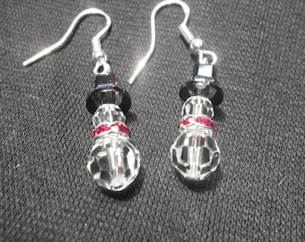 Swarovski Christmas Earrings Snowmen w/ Red Scarf Made with Sterling Silver