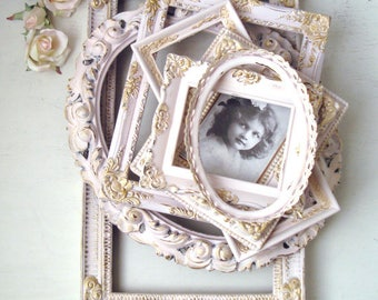 Pink and Gold All Ornate Vintage Frames, MADE to ORDER, Baby Pink Frames, Oval Ornate Frames, Pink Nursery Decor, Ornate Nursery Frames