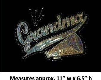 CLOSEOUT SALE Cheer Grandma (megaphone) Sequins and Rhinestone Transfer Applique ONLY