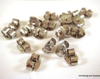 50 Surgical Steel Earnut Butterfly Earring Backs Made in the USA 6x4mm appr. 1mm hole- 25 pr - F4016EN-SS50A
