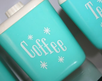 RESERVED Mid Century Atomic Mod Aqua Starburst Kitchen Canisters Lustro Ware  Set of 4 RESERVED