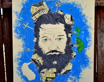 Beard Screen Print