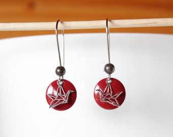 sequin Burgundy Red enamel and silver origami bird earrings