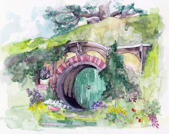 """Bag End Painting, Watercolor Painting, The Hobbit, The Lord of the Rings, The Shire, Hobbiton, Tolkien, Fantasy Art, Print titled,""""Bag End"""""""