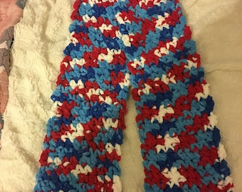 Red white and blue plushy scarf - holiday