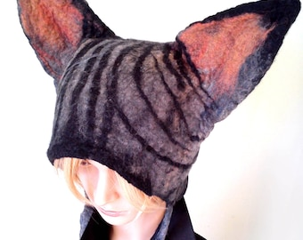 Mythical beast  Sphynx Cat Hat hand felted for  fancy dress costume womens mens unisex hat