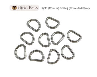 "Set of 12 // 3/4"" (20 mm) D-Rings, High Quality Unwelded D-Rings for Bags, Purses, Totes / Bag Hardware (Nickel Finish)"