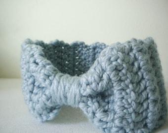 Crochet Headband Earwarmer in Powder Blue - crochet ear warmers for women or girls - ear muffs for baby girls