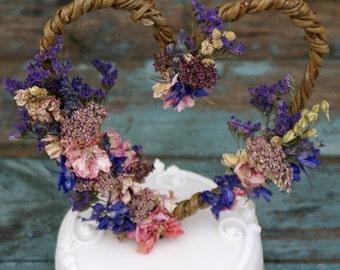 Midnight Haze Dried Flower Willow Heart Cake Topper