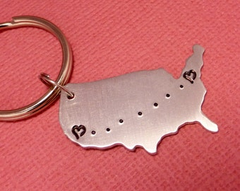 Long Distance Love Keychain - A Hand Stamped Aluminum Keychain - READY TO SHIP