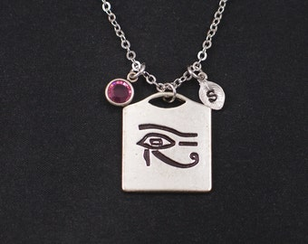 Eye of Horus necklace, sterling silver filled, initial necklace, birthstone necklace, silver Eye of Ra charm, protection symbol, eye of ra
