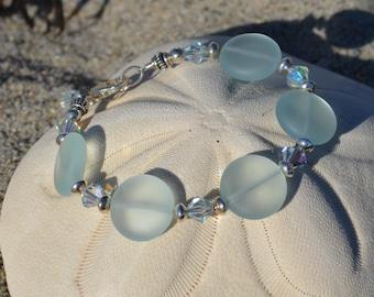 Sea foam coin and Swarovski crystal bracelet