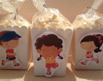 Runners, Walkathon, Relay Race Party Popcorn or Favor Boxes - Set of 10