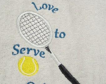 Tennis, Racket, Personalized, Custom, Tennis towel, Velour/Terry 16x26, Serve, Love