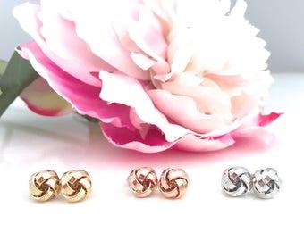 Rose Gold Knot Earrings, Knot Earrings, Rose Gold Studs, Bridal Earrings, Rose Gold Earrings, Everyday Earrings, Bridesmaid Earrings