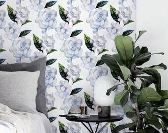 Watercolor gardenia wallpaper, Floral Removable wallpaper, Wall mural, BW016