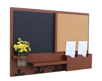 Mail Organizer -  Message Center - Cork Board -  Chalkboard -  Coat Rack - Mason Jar - Coat Hooks