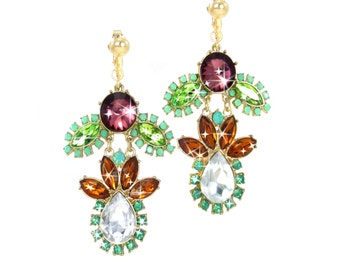 DRAMATIC Earrings, Extra Large Dangle Clip Earrings OR Hook, Big Gold Earrings, Green Colorful Bold Unique Jewelry, Large Crystal Chandelier