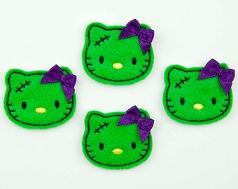 FRANKENKITTY - Embroidered Felt Embellishments / Appliques - Green & Black  (Qnty of 4) SCF3010