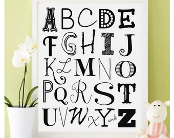 Alphabet Art Print, Art Print, Instant Download, Nursery Art Print, Alphabet Letters, Black White Alphabet, Alphabet Wall Decor, Abc