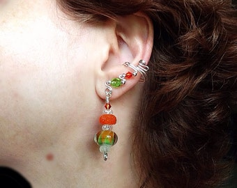 Orange and Green Lamp Work Ear Cuffs, comfortable and no pinched ears made with Sterling silver and hand made lamp work beads.  Earrings