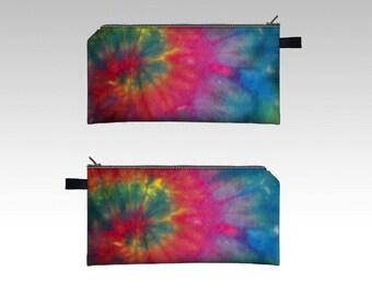 Tie Dye Pencil Case-Pink, Blue, Green-Zipper Pouch-Pencil Pouch-Cosmetics Pouch-Cosmetics Case