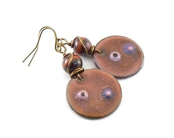 Handmade Earrings, Enameled Earrings, Metallic Red Earrings, Industrial Earrings, Metal Earrings, Boho Earrings, Artisan Earrings, AE093
