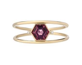 Double Band Ring, Hexagon Ring, Double Ring, Stacking Ring, Mothers Ring, Birthstone Ring, Garnet Ring, Diamond Ring, Gold Ring, Ring,Nixin