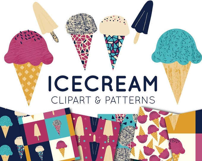 Icecream Clipart - Ice Cream Digital Paper - Lolly Pop Digital Paper - Scrapbooking - Summer Clip art - Tropical Digital - Commercial Use