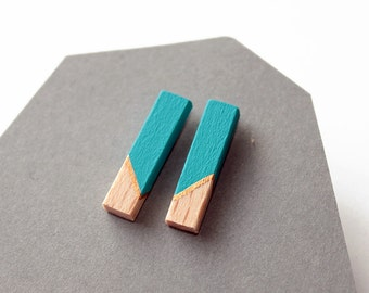 Geometric rod stud earrings - turquoise blue, gold, natural wood - minimalist, modern hand painted wooden jewelry