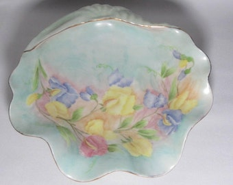 Hand Painted Occupied Japan Shell Candy Dish