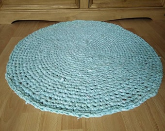 Handmade Crocheted Round Rag Rug, Eco Friendly, Upcycled, Mint Green, Eco Rug.